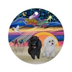 Two Poodles (B+W) - Xmas Star Ornament (Round)