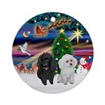 Two Poodles (B+W) - Xmas Magic Ornament (Round)