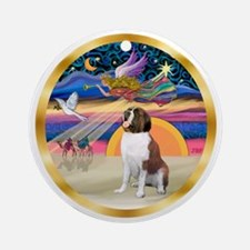 XmasStar-Saint Bernard Ornament (Round)