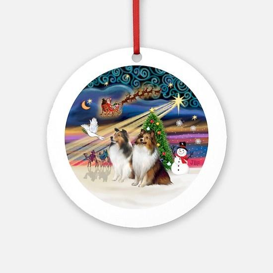 Xmas Magic - Two Shelties (SW) Ornament (Round)