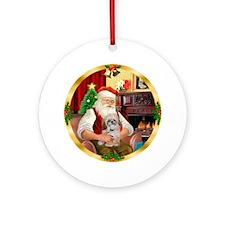 Santa's little Shih Tzu (P) Ornament (Round)