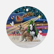 Xmas Magic - 2 Sib. Huskies Ornament (Round)
