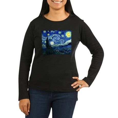 Starry Night Women's Long Sleeve Dark T-Shirt