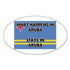 What Happens In ARUBA Stays There Oval Decal
