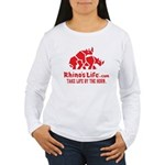 Rhino's Life Women's Long Sleeve Tee - Red Logo