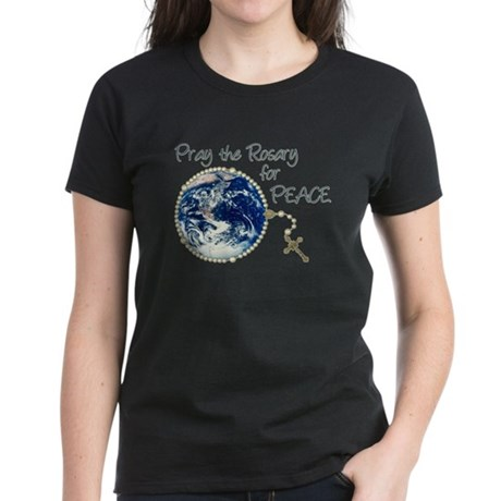 Pray the Rosary for Peace Women's Dark T-Shirt