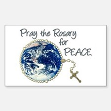 Pray the Rosary for Peace Rectangle Decal