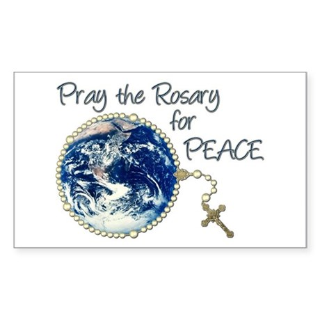 Pray the Rosary for Peace Rectangle Sticker