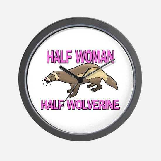 Half Woman Half Wolverine Wall Clock