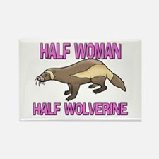 Half Woman Half Wolverine Rectangle Magnet