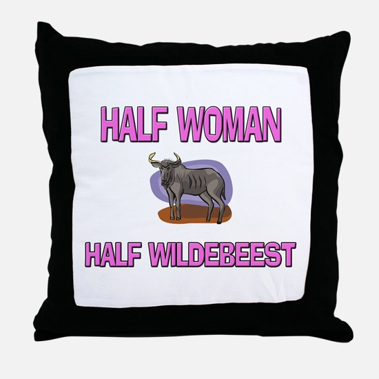 Half Woman Half Wildebeest Throw Pillow