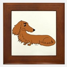 Red Dachshund Framed Tile