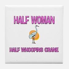 Half Woman Half Whooping Crane Tile Coaster