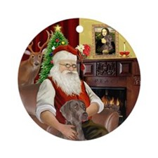 Santa's Weimaraner Ornament (round)
