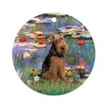 Water Lilies Lowland Sheepdog Ornament (Round)