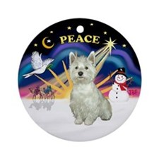 Xmas Sunrise - Westie Ornament (Round)