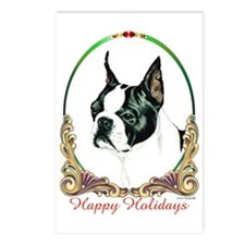 Boston Terrier Holiday Postcards (Package of 8)