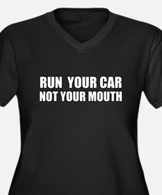 Car Not Mouth Women's Plus Size V-Neck Dark T-Shir