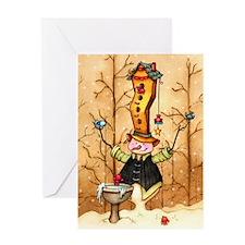 Here Birdy Snowman Greeting Card