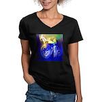 ALIEN LAND RIDE - ART Women's V-Neck Dark T-Shirt