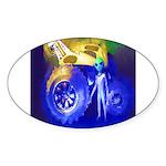 ALIEN LAND RIDE - ART Oval Sticker (50 pk)