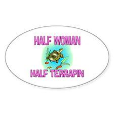 Half Woman Half Terrapin Oval Decal