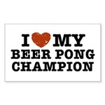 I Love My Beer Pong Champion Rectangle Sticker