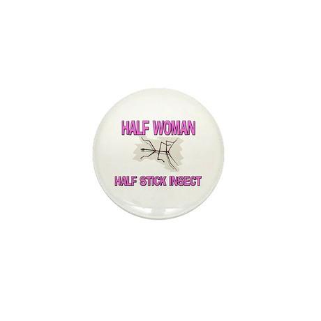 Half Woman Half Stick Insect Mini Button