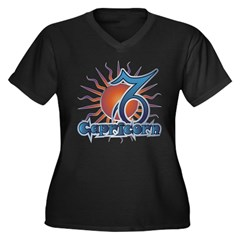 Capricorn Women's Plus Size V-Neck Dark T-Shirt