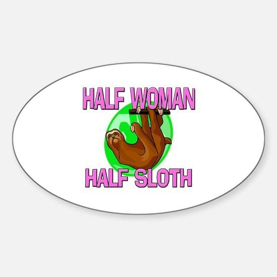 Half Woman Half Sloth Oval Decal