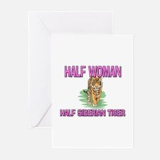 Half Woman Half Siberian Tiger Greeting Cards (Pk