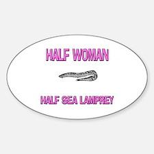 Half Woman Half Sea Lamprey Oval Decal