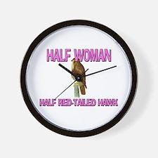 Half Woman Half Red-Tailed Hawk Wall Clock