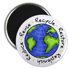 "Recycle - Reuse - Reduce - Re 2.25"" Magnet (1"