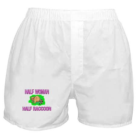 Half Woman Half Raccoon Boxer Shorts
