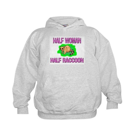 Half Woman Half Raccoon Kids Hoodie