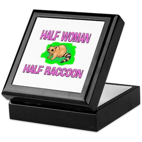 Half Woman Half Raccoon Keepsake Box