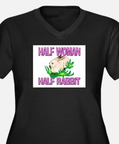 Half Woman Half Rabbit Women's Plus Size V-Neck Da