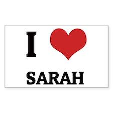 I Love Sarah Rectangle Decal