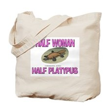 Half Woman Half Platypus Tote Bag