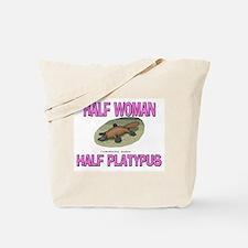 Half Woman Half Platypus Tote Bag