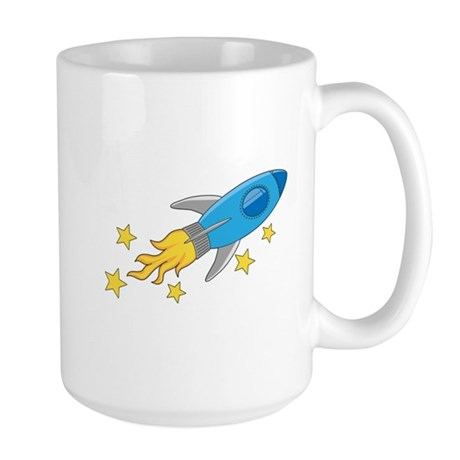 Retro Rocket Ship Large Mug