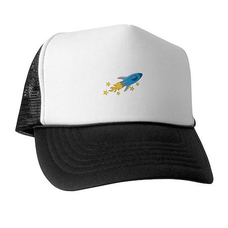 Retro Rocket Ship Trucker Hat
