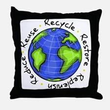 Recycle - Reuse - Reduce - Re Throw Pillow