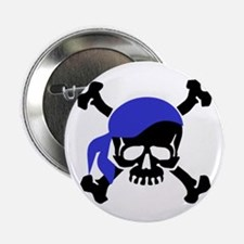 "Skull and Crossbones II Blue 2.25"" Button"