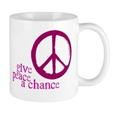 Give Peace a Chance - Pink Small Mugs