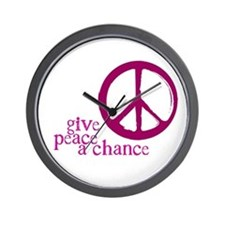 Give Peace a Chance - Pink Wall Clock