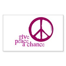 Give Peace a Chance - Pink Rectangle Decal