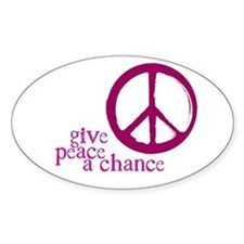 Give Peace a Chance - Pink Oval Decal