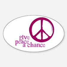 Give Peace a Chance - Pink Oval Sticker (10 pk)